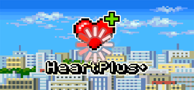 8bit picture of city and heart with plus for net neutrality