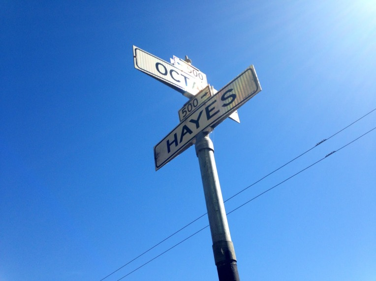 San Francisco street sign of Octavia and Hayes